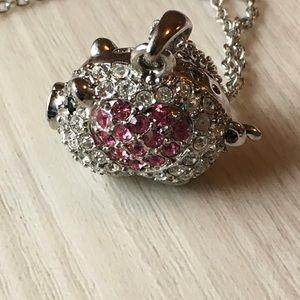 Jewelry - Statement necklace rhinestone pig! NWOT